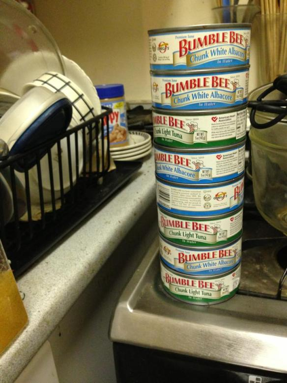 Stack of expired tuna cans in the kitchen.
