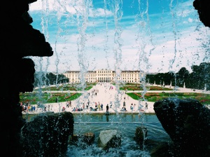 Schönbrunn Palace through the fountain.