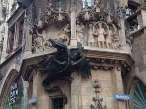 Dragon statue in Marienplatz symbolizing the Black Death.