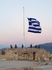 Greek militia taking down the flag