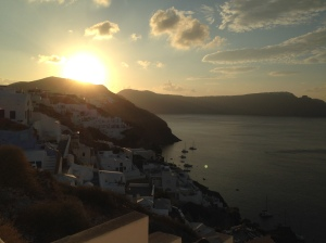 Watching the sunrise in Oia
