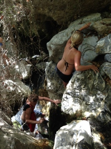 Climbing in flip flops and water shoes is not easy...