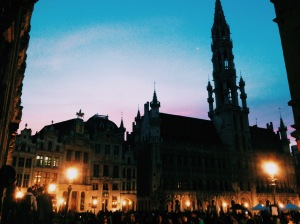 Brussels Grand Place at night.