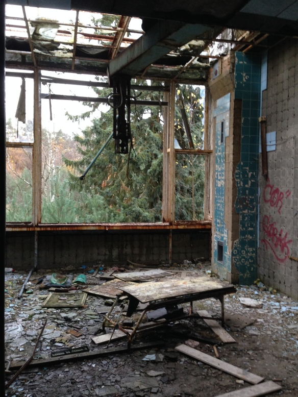 An old operating room, wall and windows gone