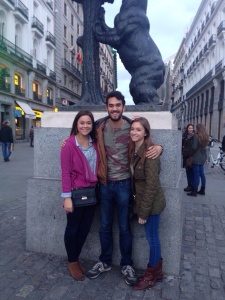 Us with the symbol of Madrid, a bear and a tree. The guy we asked to take a photo cut off the top of the statue, obviously unaware why we wanted the photo.