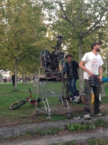 Homemade robot at Mauerpark - it could spit out water!