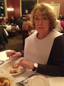 Mom getting messy eating some famous Barbeque Shrimp from Pascale's Manale