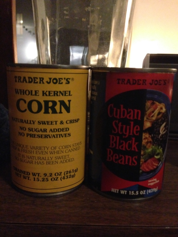 Open and drain your beans and corn. I use Trader Joe's Whole Kernel Corn and Cuban Style Black Beans.